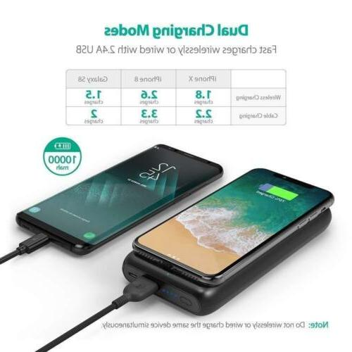 Wireless Portable Charger 10000mAh External for iPhone Xs, Plus, Wireless Power for S9, and Qi-Enabled Devices