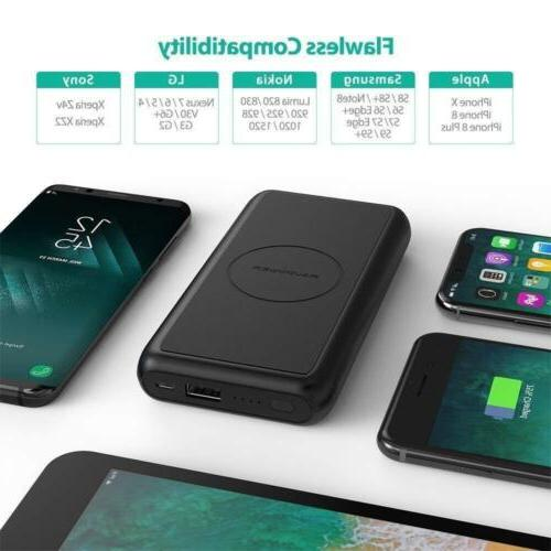 Wireless Portable 10000mAh External for Xs, X Wireless Power Bank for and