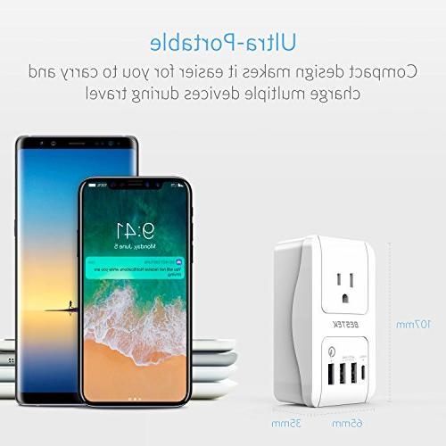 Travel BESTEK Dual Smart USB + 1 Charge 1 Wall Charger US, AU, Asia