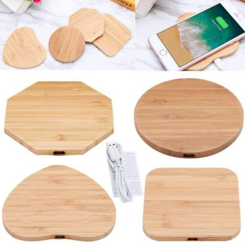 Bamboo Wood Slim Pad Wireless Charger Charging Mat For iPhon