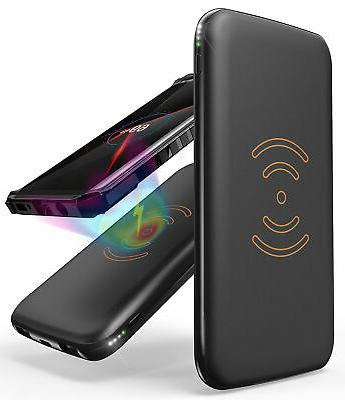 BLACK QI WIRELESS CHARGER PAD 8000mAh PORTABLE BATTERY POWER