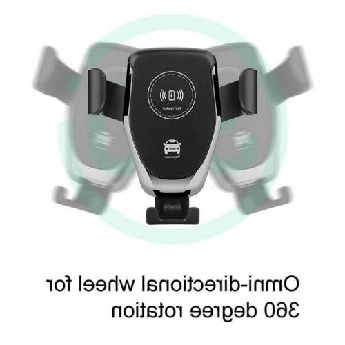 Car Mount Qi Wireless Charger Vent Phone Holder Fast iPhone