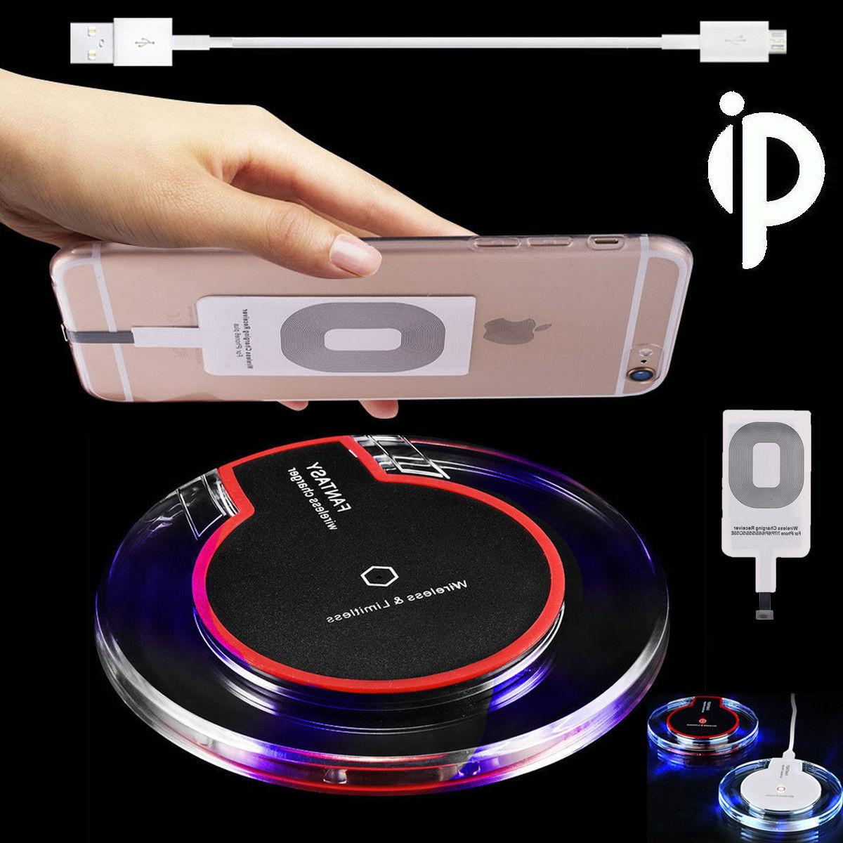 Clear Qi Wireless Fast Charger Dock Charging Pad+Receiver F