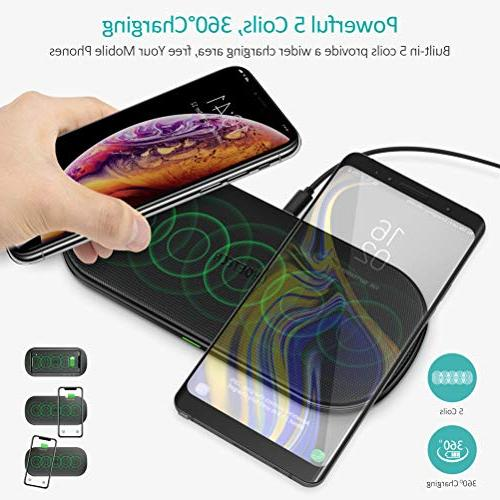 CHOETECH 5 Double Qi Fast Wireless Charging Compatible with Max/XR/8/8 Plus, S9/S9 Plus/S8/S8 Plus, 9