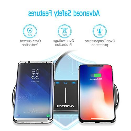 CHOETECH Dual Wireless Double Charging Pad Compatible with iPhone X, XS, XR, 8/8 Samsung Galaxy Note Plus/Note 8