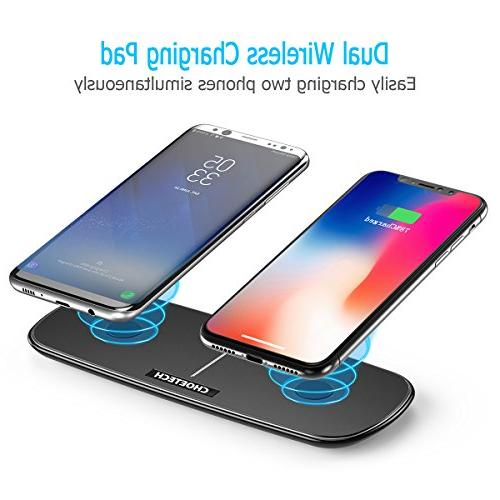 CHOETECH Dual Wireless Double Pad with iPhone X, XR, Samsung Plus/Note 8