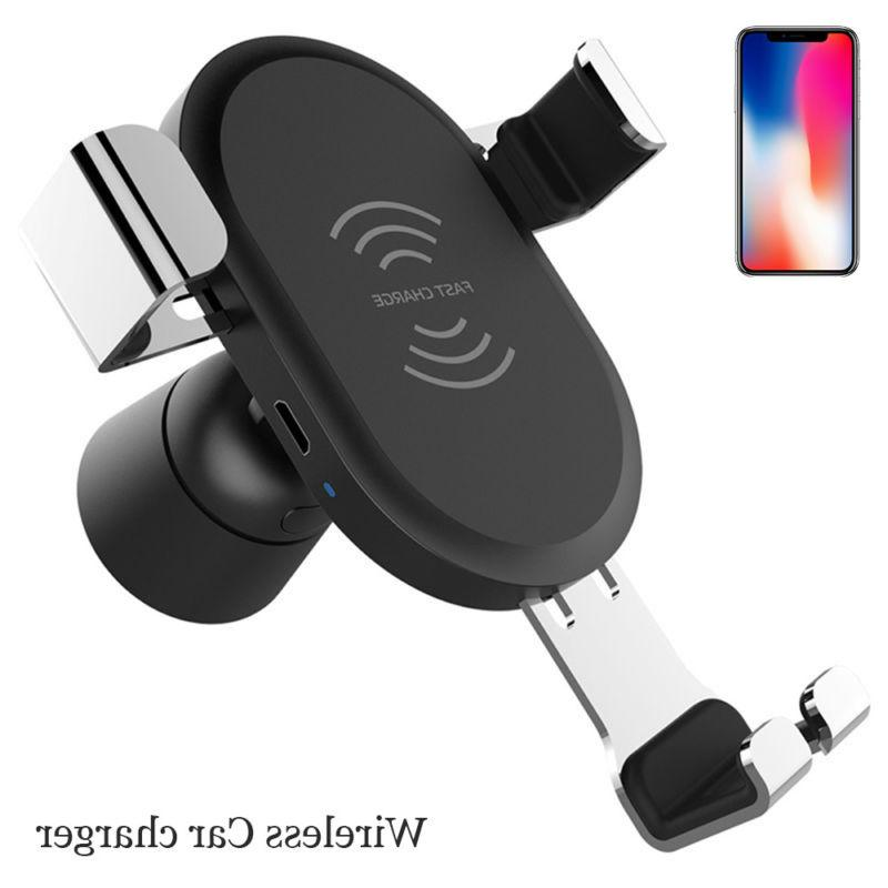 Fast 10W QI Wireless Charger Car Mount Holder For iPhone X 8