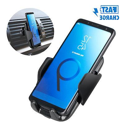 Fast Qi Wireless Car Charger Charging Pad Air Vent Mount Hol
