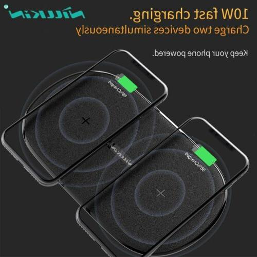 fast qi wireless charger dual seat pad