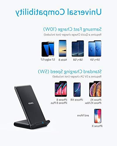 Anker Fast Charger, 10W Wireless Charging Stand, Qi-Certified, Compatible Max/XS/X/8/8 Plus, S9/S9+/S8/S8+/Note 9 More, PowerWave Stand
