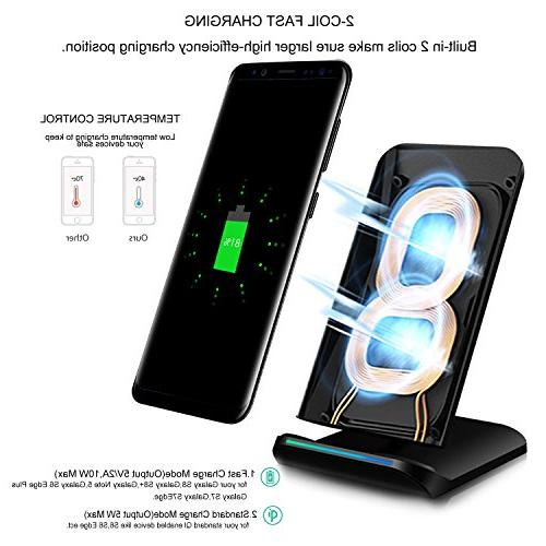 PLESON Wireless Qi Fast Wireless Charging Pad for Note 9/8 S8/S8+ Edge, AC