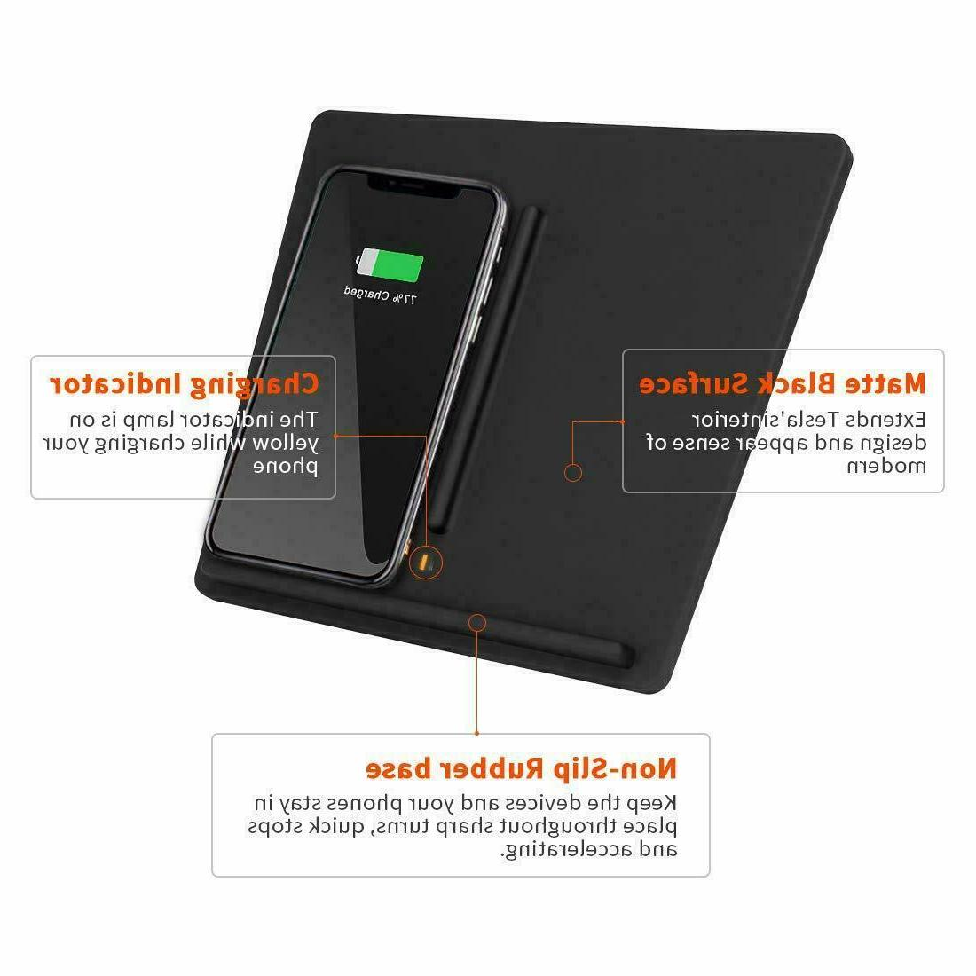 Fast Wireless Charger Tesla Model Console Dual Phones Pad