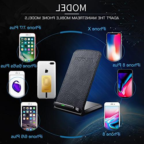 Fast Wireless Leather Cordless CellPhone Charger QI Stand X/8/8Plus/7/7 plus/6s/6s plus/5s/SE,Samsung Galaxy etc