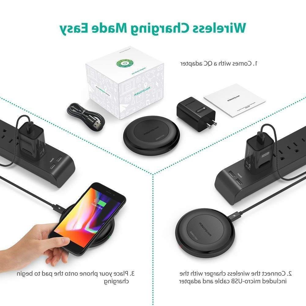Fast Wireless Charger Qi-Certified 7.5W Compatible 10W