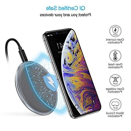CHOETECH Wireless Qi Alloy & Wireless Charger Xs/XS Plus, Compatible Galaxy 9,5W All Qi-Enabled