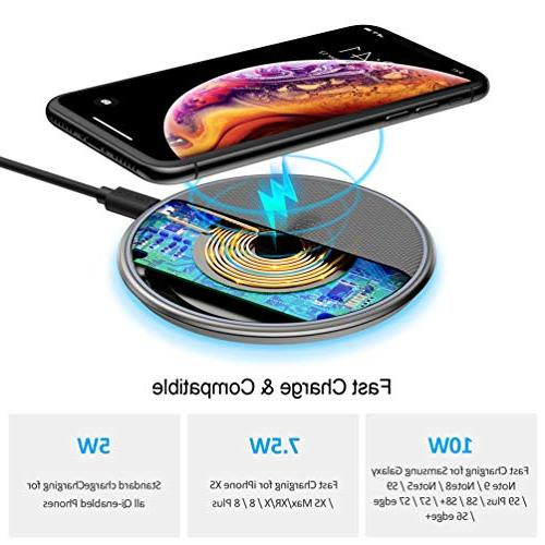 CHOETECH Fast Wireless Qi Certified Alloy Ultra-Slim Wireless Compatible iPhone Xs/XS Max/XR/X/8/8 Compatible 9,5W Qi-Enabled