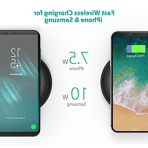 Qi-Certified 7.5W Compatible Xs HyperAir, 10W Compatible S9, S9+, & Note 8 All Devices