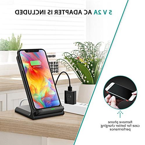 Wireless Charger, Certified Charging Compatible with Max/XR/iPhone 8/8 Galaxy Note 9/S9/S9+/Note8/S8 and All QI-Enabled