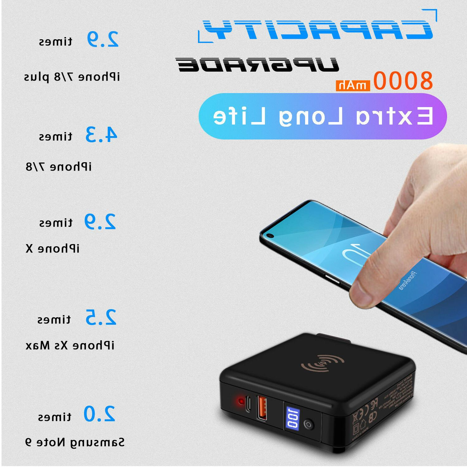 For Samsung Galaxy S9 / 8000mAh Travel Charger Bank Wireless Charger