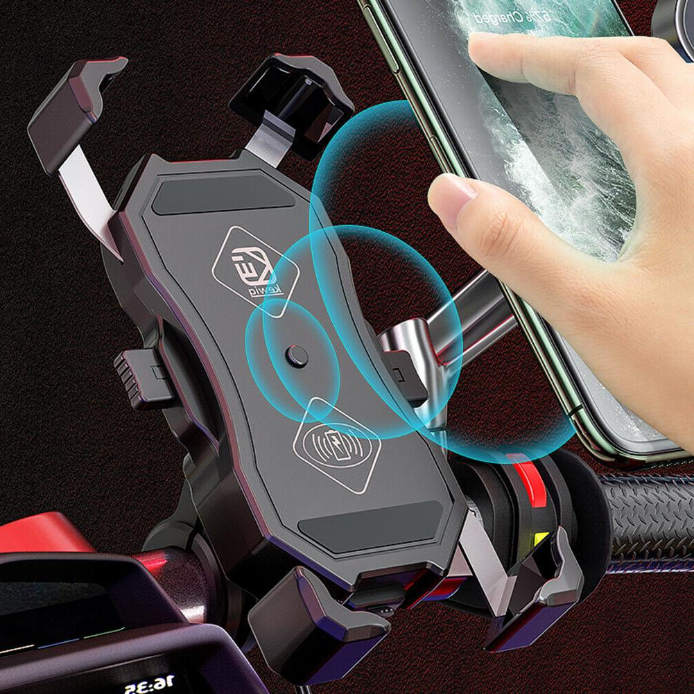 Motorcycle Phone Holder Wireless QC USB Charger GPS Mount 12-24V
