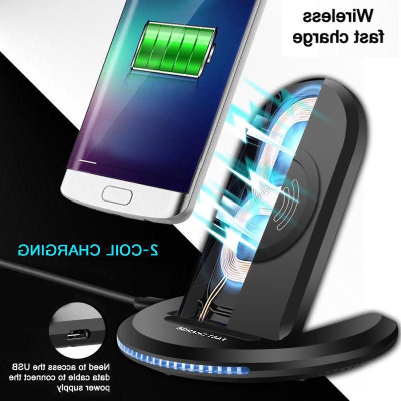 Qi Wireless Fast Charger Charging Pad Stand Samsung S8 S9 S1