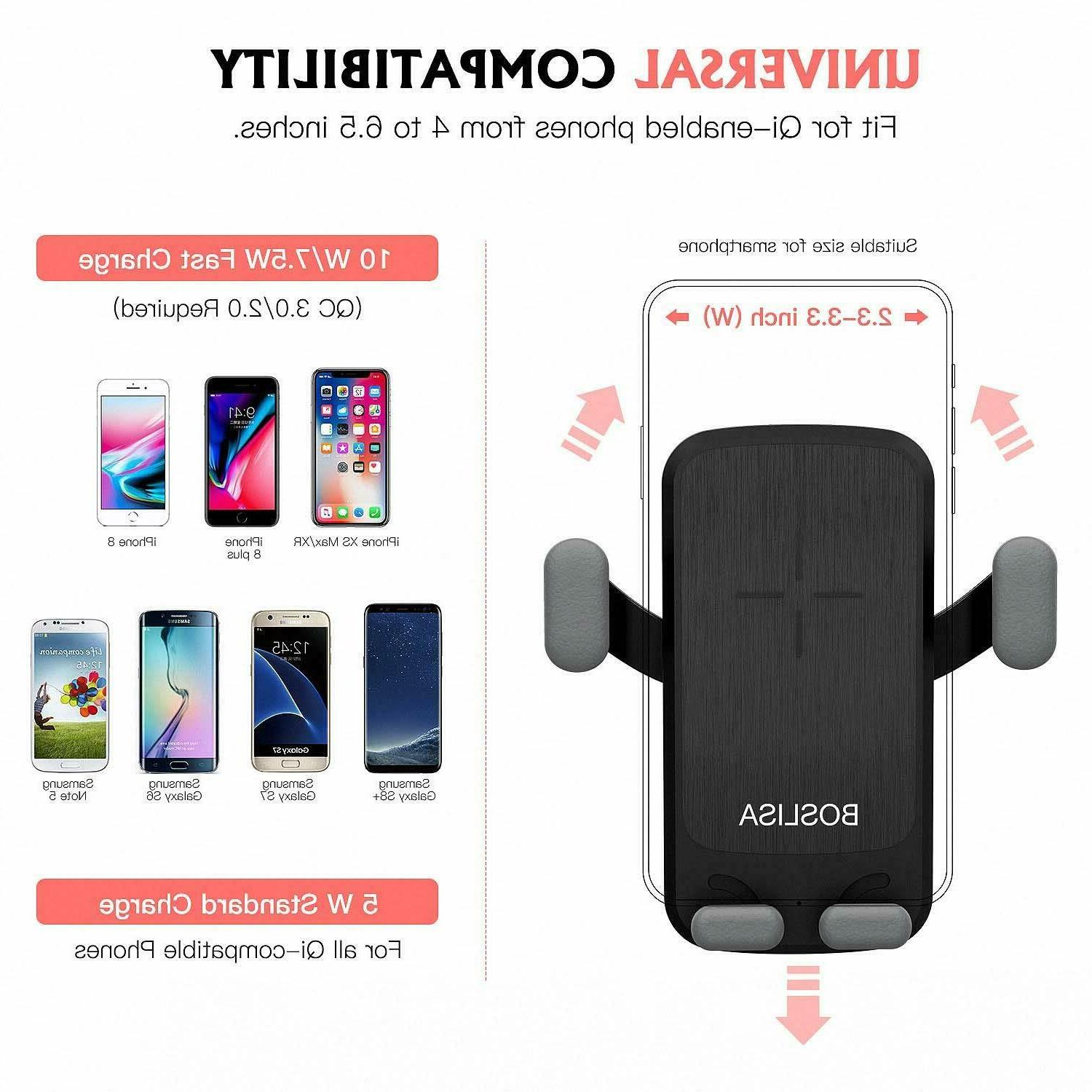QI Wireless Charger Mount iPhone 8 Plus Samsung S8 S9+