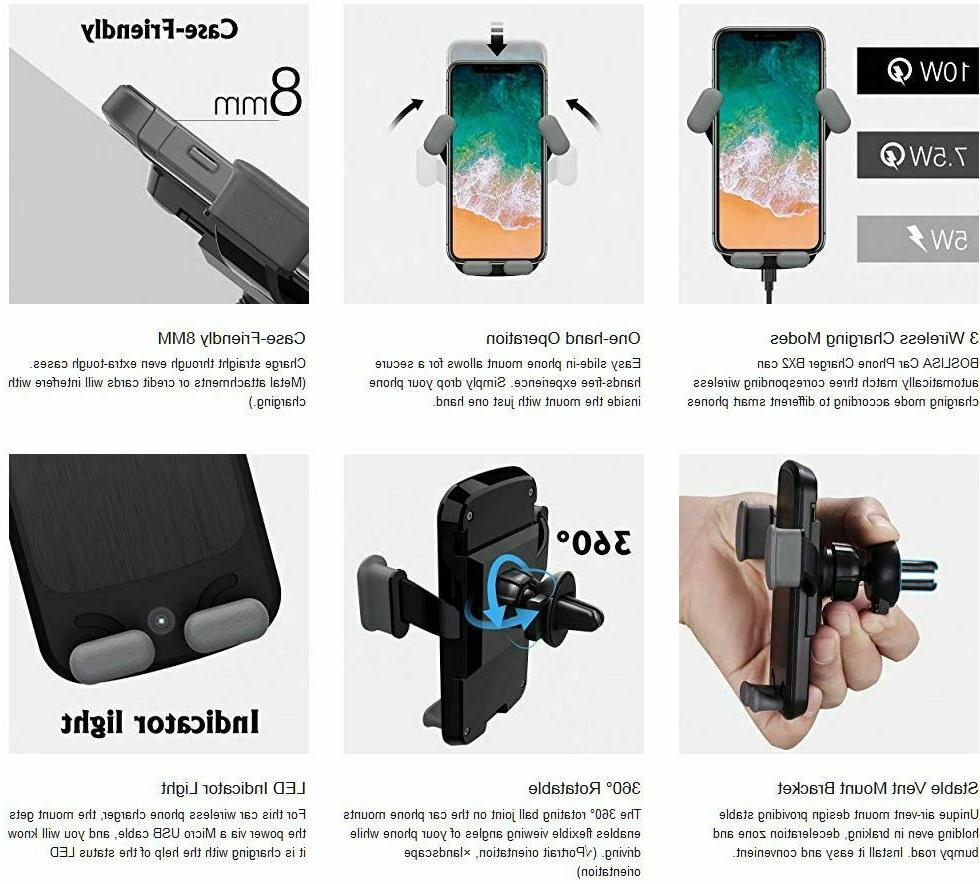 QI Wireless Car Phone Charger Mount Holder iPhone Plus X Samsung S8