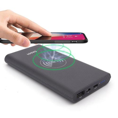 Qi Wireless Charger 10000mAh Power Bank External Portable Ba