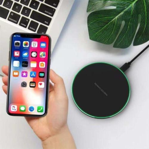 QI wireless charger blue indicator light 10W slim fast charg