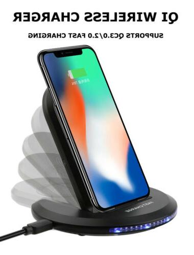 10W Qi Wireless Fast Charger Charging Pad Dock Stand for Sam