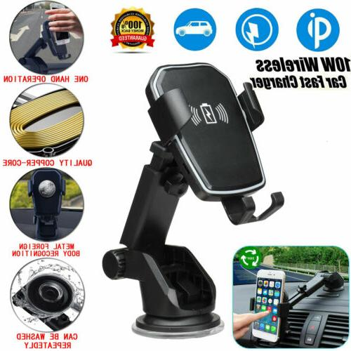 qi wireless fast charging car charger mount