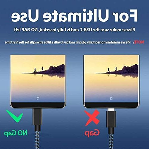 Short USB Type Cable, C Fast Charger, Braided Compatible Samsung Galaxy S8 Note 9 8,LG V20 30,Google Pixel XL 3XL,Switch,Power and More