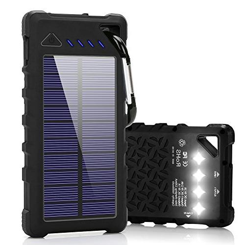wholesale dealer a4cdd 6d5bf Solar Charger, FKANT 16000mah IPX7 Waterproof Portable Solar Power Bank  Dual USB Port and 4LED External Backup Battery Pack Solar Phone Charger