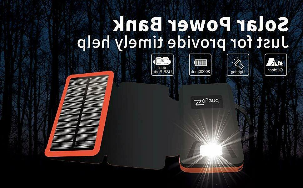 Solar Charger Portable 20000mAh Waterproof