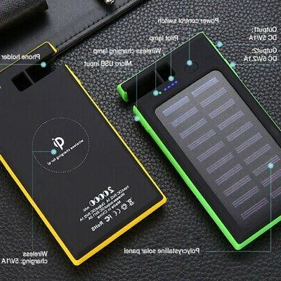 20000mAh Wireless Solar Power Bank Fast Qi Charger Pad LED D