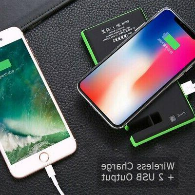 Portable Solar Power Bank Fast Qi Wireless Charger Pad LED U