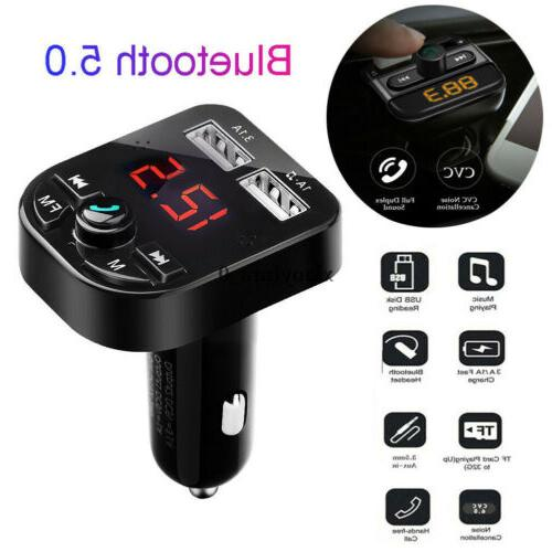 US Car Charger FM Wireless Radio Adapter MP3