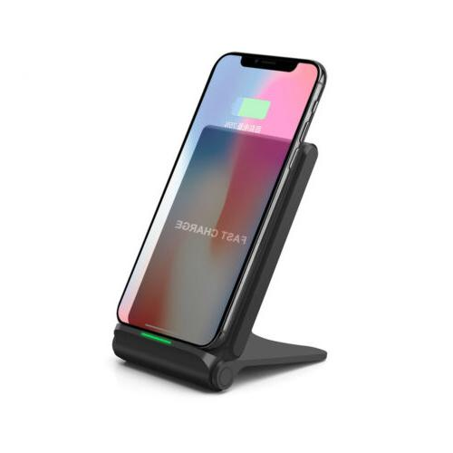 US Qi Wireless Charger Charging Pad Foldable Stand For Samsu