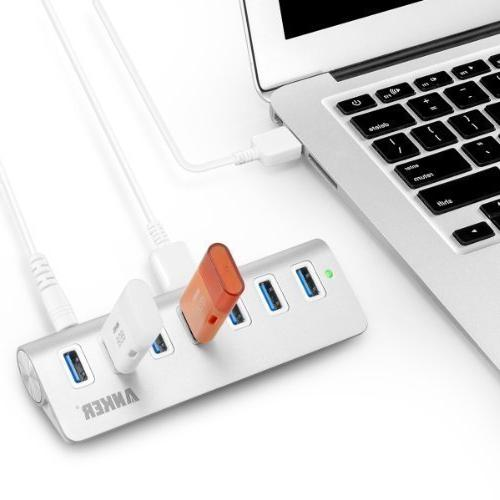 Anker 7-Port Aluminum Data with 20W and 3 3ft Mac, PC, USB
