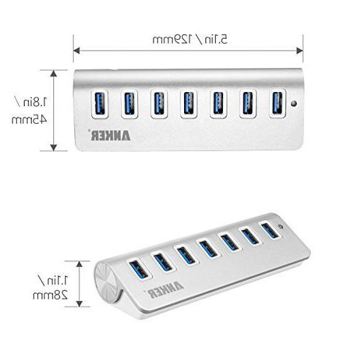Anker 7-Port Aluminum 20W Power 3 3ft Cables Mac, USB Flash Drives and