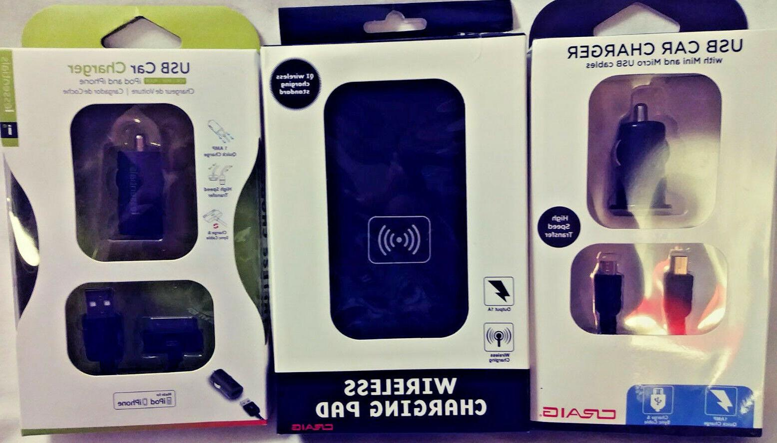 CRAIG USB CAR CHARGER MINI & MICRO USB CABLES + WIRELESS CHA