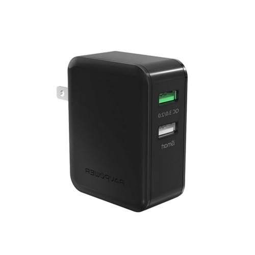 USB Quick Charger RAVPower 30W Dual USB Plug Wall Charger wi