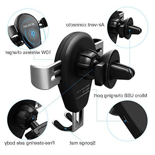 Wireless Charger, Auto-Clamping Qi Car Mount with 360°Air Holder, Fast Compatible iPhone MAX/XR/XS/X/8/8 Plus and Qi