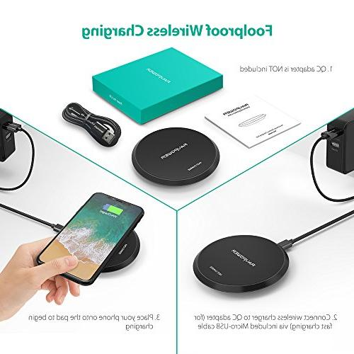 Wireless RAVPower Qi Certified 10W Charging Pad Galaxy S9+ S9 Compatible X Plus and All Qi-Enabled Phones