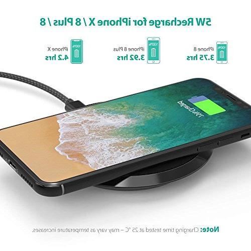 Wireless Charger Certified 10W Charging Pad S9+ Compatible X Plus 8 Qi-Enabled