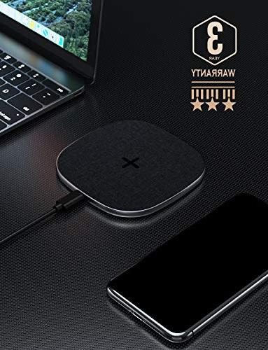 Wireless Qi-Certified Fast Charger Compatible for iPhone XS 10W Samsung S9/S9+/S8/S8+ Stainless All Devices