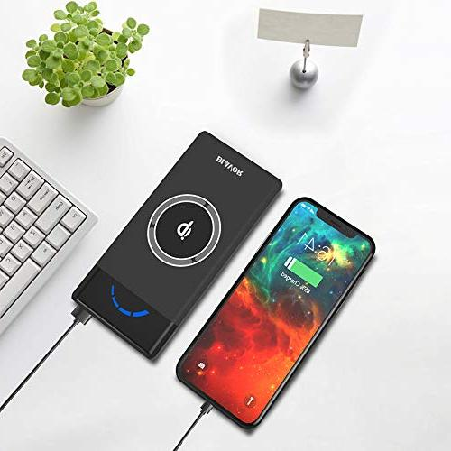 BLAVOR Wireless Power Bank 10,000mAh 5V 2.1A Phone Battery Charger Type C Port LCD Screen Portable Wireless Charger Qi Power Bank Compatible with iPhone 8//8plus//X All Qi-Enabled Devices