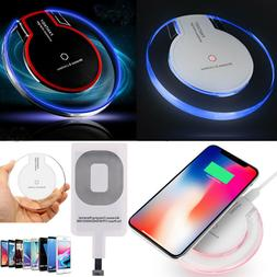 LED Qi Wireless Charger Charging Pad F iPhone X 6 6S 7 8 Plu