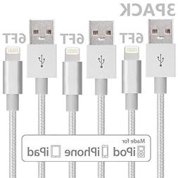 Lightning Cable, VPR 3Pack 6FT Nylon Braided Extra Long 8pin