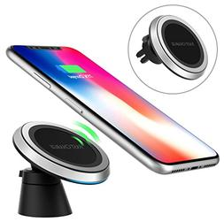 MoKo Magnetic Fast Qi Wireless Car Charger, 360 Degree Rotat
